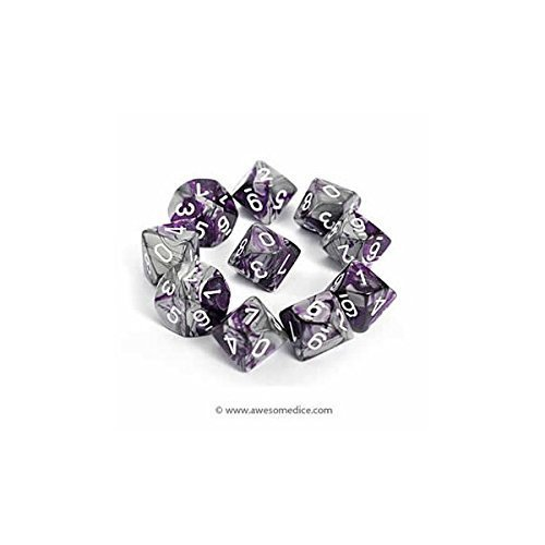 Chessex Dice Sets: Gemini Purple & Steel with White - Ten Sided Die d10 Set -