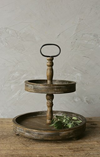 Creative Co Op Wood Two Tier Tray With Metal Handle