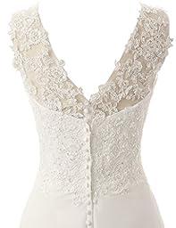 JAEDEN Elegant V-neck A-line Lace Chiffon Long Beach Wedding Dress White US24W