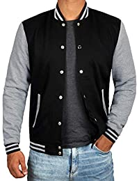 Black and Grey Letterman Jacket Men - High School Baseball Varsity Jacket Mens