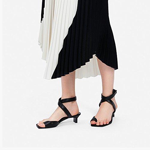 Confortable Commerce Décontractées De Dame CM Talon Courroie Transversale Talons Rose UK6 Hauts EU39 YQQ Des Fille Sandales Mode taille Chaussures Chaussures Moyen Femme 4 Noir Couleur Zqw70nO