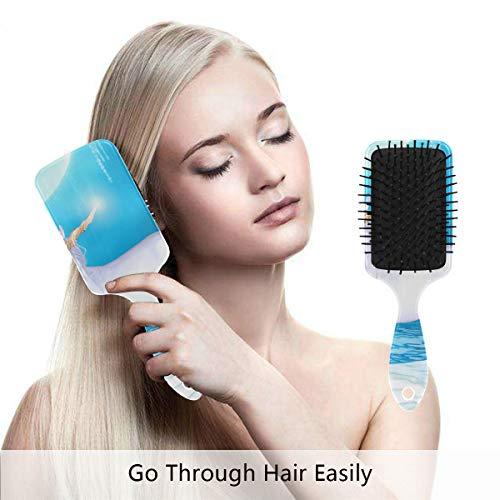 (Unicorn Under A Full Moon Hair Brush for Wet & Dry Hair Grip Soft Bristles for Anti Static & Frizz Air Cushion Comb for Women Girls)