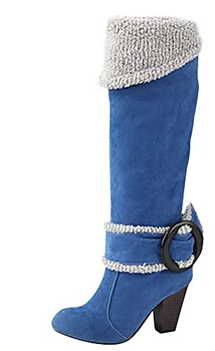 Minetom Invierno Botas Tacón Mujer Hebilla Rodilla Azul Otoño Biker Alto Boots Botas Chunky Heel 88TqSwnr6