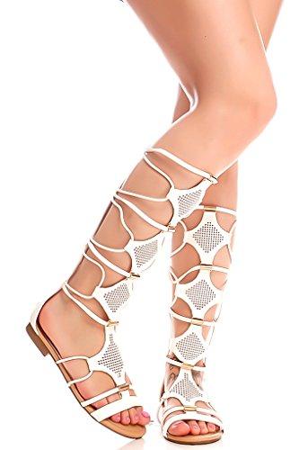 Lolli Couture Forever Link Material De Piel Sintética Cremallera Trasera Diseño Con Múltiples Aberturas Sandalias Altas Con Punta Abierta Sandalias Blancas