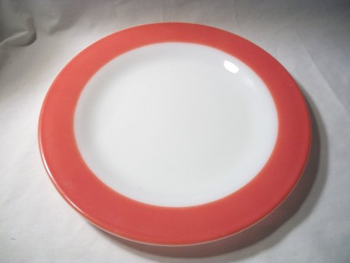 Pyrex Corning Tableware Milk Glass Flamingo Pink Band Dinner Plate