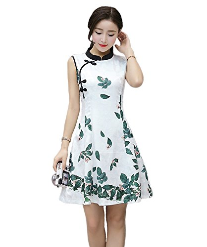 Summer Style Improved Cheongsam Women's Evening Short Qipao Dress (L, Style 7)