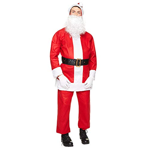 Classic Santa Claus Costume - Mens 5-Piece Christmas Holiday Complete Set, XL Red]()