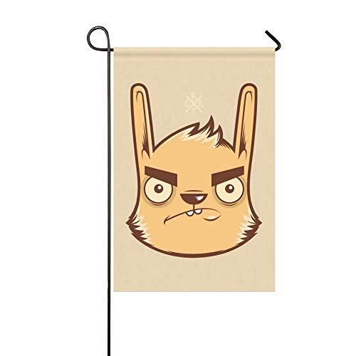 MJG Garden Flag Rabbit Face Figure Color Paper Emotion Anger Aggression 12x18 Inches(Without Flagpole) ()