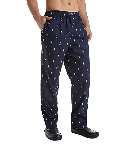 Polo Ralph Lauren Woven Polo Player Lounge Pants, M, Navy/Ivory (Polo Pajama Pants)