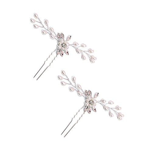 BlueSpace Hair Pins Girls Crystal Pearl Hair Clips Wedding Bridal U Hairpin Set Hair comb, 2pcs(Sliver)