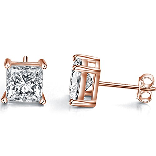 Emma Manor Gold Plated 925 Sterling Silver 4 Prong 7mm Square Shape Cubic Zirconia Stud Earring (Rose Gold Plated Silver)