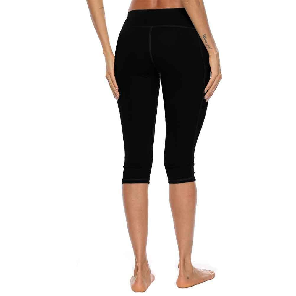 Amazon.com: Mujer Delgado Yoga Pantalones Hasta la Rodilla ...