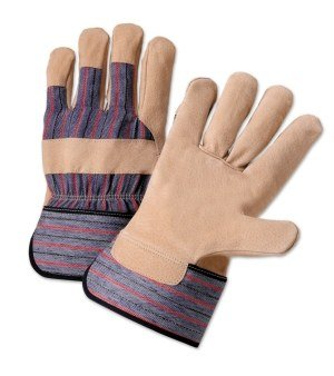 West Chester 500P Blue/Red Large Pigskin Leather Full Fingered Work & General Purpose Gloves - Wing Thumb - Uncoated - 10 in Length - 500P [PRICE is per DOZEN]