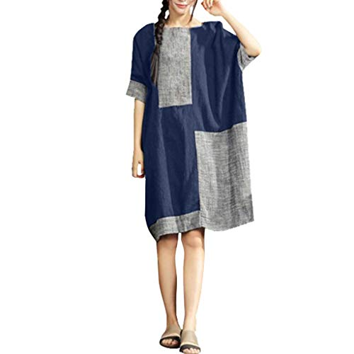 Womens Casual Linen Dress Loose Fit Half Sleeve Patchwork Boat Neck Plus Size Dresses M-4XL (XXXXL, Navy)