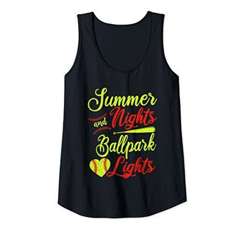 (Womens Summer Nights Ballpark Lights Softball  Tank Top)