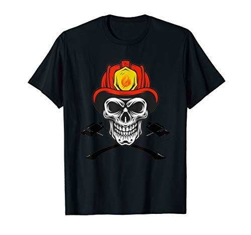 Firefighter axe Costmume Halloween Fireman Skull Helmet Axes T-Shirt