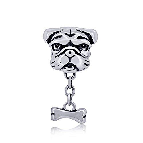 The Kiss Pet Lover Dog Puppy Paw Family 925 Sterling Silver Bead Fits European Charm Bracelet (Shar-Pei Dog Bone Dangle Clear CZ) - Shar Pei Dog Charm