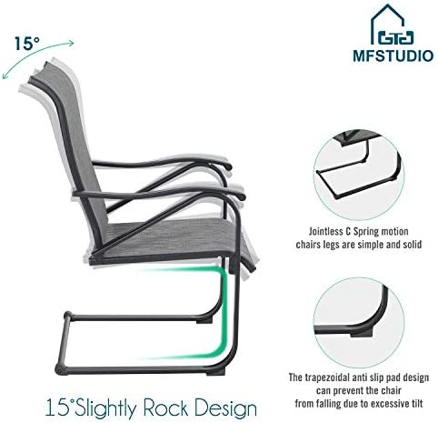MFSTUDIO 2 Pieces Patio Dining C Spring Motion Textilene Metal Rocker Chairs Weather Resistant Garden Outdoor Modern Furniture