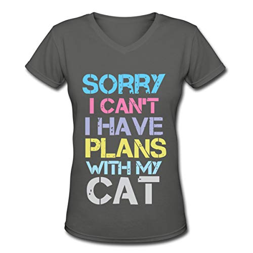 Sorry I Cant I Have Plans with My Cat Women V-Neck Short Sleeve Tshirt Deep Heather -