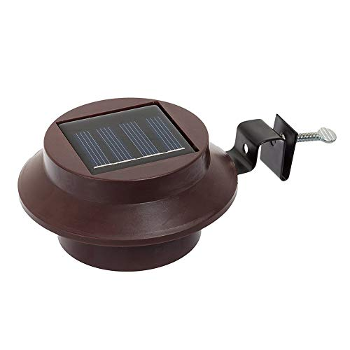 ChouZZ Solar LED Lights - Wireless Outdoor Wall Lights for Fence Gutter Garden Gate Pathway (Brown, 12 x 12 x 63 cm)