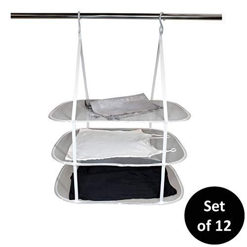 Homz Sweater/Delicates/Swimsuit Dryer, Surface, Grey, Set of 12 Hanging 3 Tier Drying Rack,