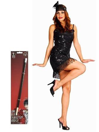 dbdc8a02f18 Robe charleston 1920 - fume-cigarette inclus - femme - noir  Amazon.fr   Vêtements et accessoires