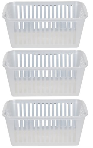 25cm Clear Plastic Handy Basket Storage Basket - Set Of 3