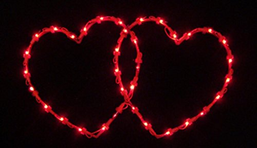 VALENTINES DAY LIGHTED DOUBLE HEART WINDOW DECORATION INDOOR OR OUTDOOR