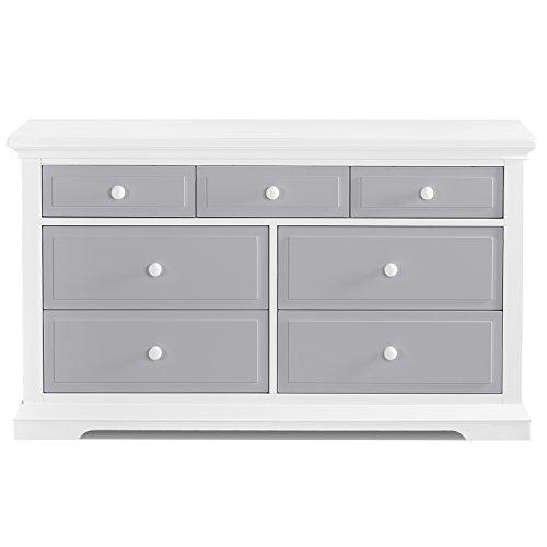 Evolur Parker Double Dresser, White/Dove Grey