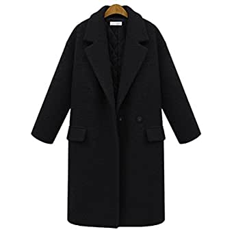 YuanDian Mujer Solapa Manga Larga chaqueta Añadir Algodón Color Sólido Plus Size Abrigo Negro 3XL