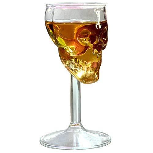 Skull Goblet - QAAQS Skeleton 3D Skull Head Wine Goblets Glass Cup for Vodka Whiskey Cocktail Barware Home Drinking Ware 75ML