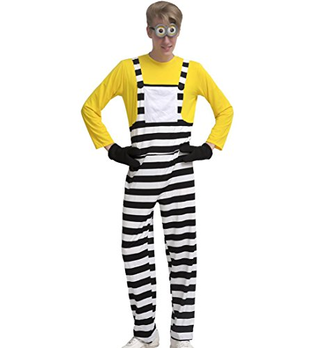Minions Movie Womens Plus Size Minion Costumes (Eternatastic Men's Halloween Costume Despicable Me Minion Costume Stripe Yellow XL)