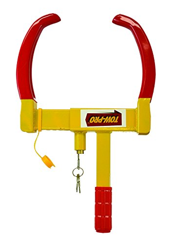 Towpro Wheel Lock Anti-Theft Claw - Industrial Grade Tire Clamp For Security (Yellow & Red, 7-11 Inch)