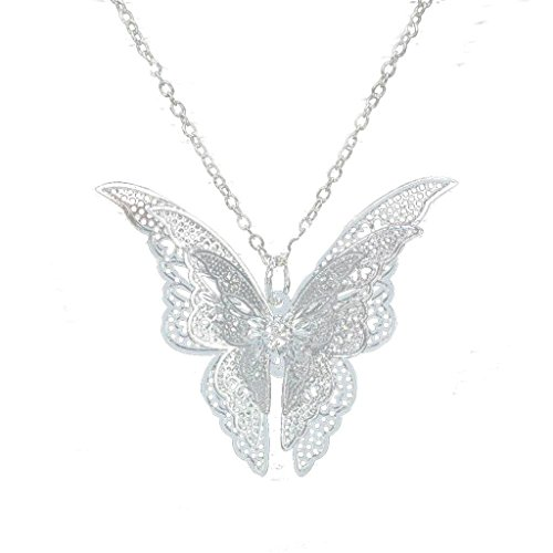 Usstore Women Pendant Lovely Silver Butterfly Pendant Chain Necklace Alloy Jewelry - Butterfly Womens