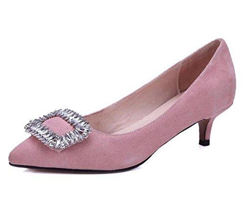 XIE Zapatos de Tacón para Mujer Zapatos de Tacón de Diamante con Diamantes de Tacón Fino, Pink, 41 PINK-38
