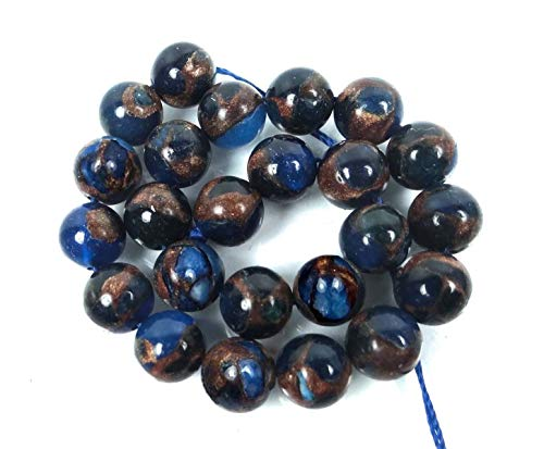 24 Pcs Blue Sapphire in Quartz with Pyrite Round Beads for Pendant Bracelet DIY Jewelry Making