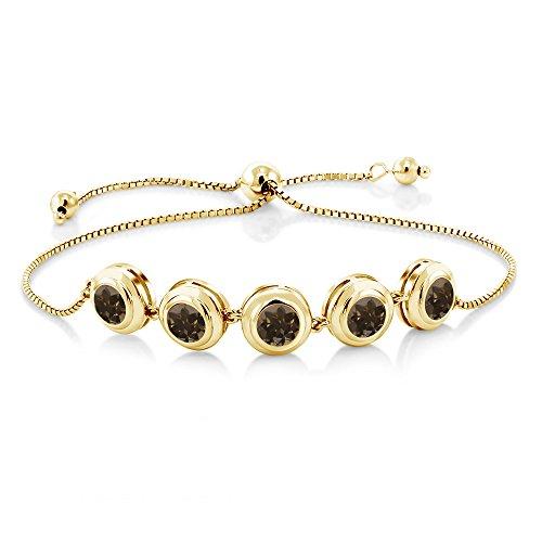 Gem Stone King 4.00 Ct Round Brown Smoky Quartz 18K Yellow Gold Plated Silver Tennis Bracelet