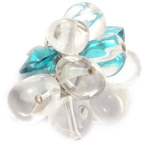 Les Trésors De Lily [B8825] - Bague 'Ebullition' Blanc Turquoise