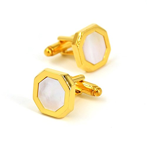Men's Jewelry Unique Octagon Brilliant Shell Cufflinks For Mens 24K Gold Plated With Presentation Gift Box