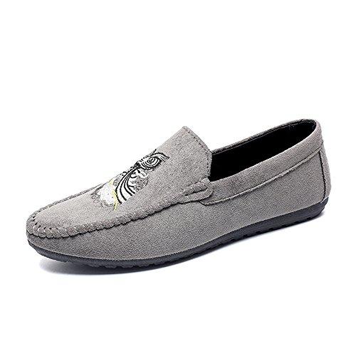 Gris de Conducción Vestir BAOLESEM Hombre Plano para Zapatillas Casual Mocasines Calzado Zapatos x6xOqzwP