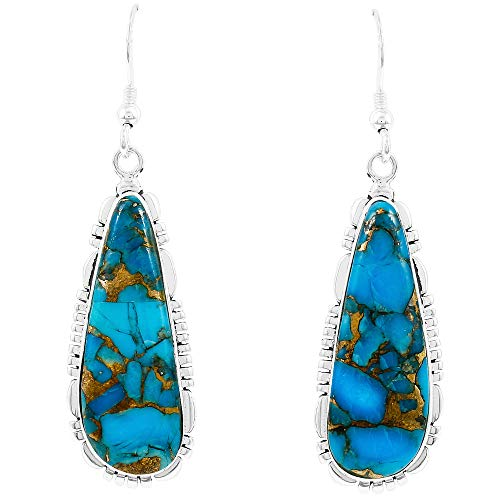Turquoise Earrings 925 Sterling Silver & Genuine Turquoise (Choose Color) (Teal/Matrix Turquoise)
