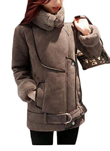 Rei Womens Belt - CRYYU-Women Stylish Wool Thicken Belt Outdoor Winter Jacket Coats Camel US M