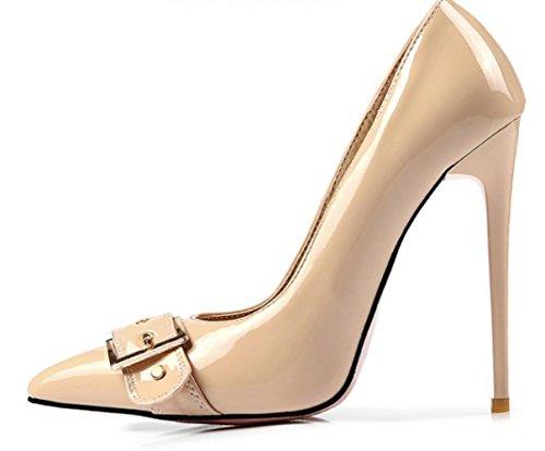 CSDM Donne Stiletto Heel Scarpe da sposa Pochette a bocca liscia punta punta a cinghia metallica Fibbia ad altezze Large Size Scarpe , apricot , 45 custom 2-4 days do not return