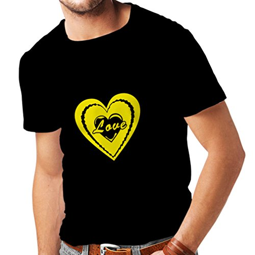T Shirts For menI Love You - Valentines Day Quotes Great Gifts (Medium Black Yellow)