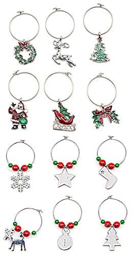 12 Pieces Christmas Wine Glass Charms for Stemmed Goblets Glasses Drink Markers to Identify Your Drinks Bringing Cheers to Your Holiday Party (Silver)