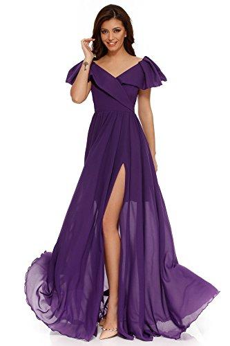 Cocktail Elegante Maxi Scollo Viola da Maniche Corte Abito Vestito Miss lungo Donna Grey da Volant sera V a qxW4pw
