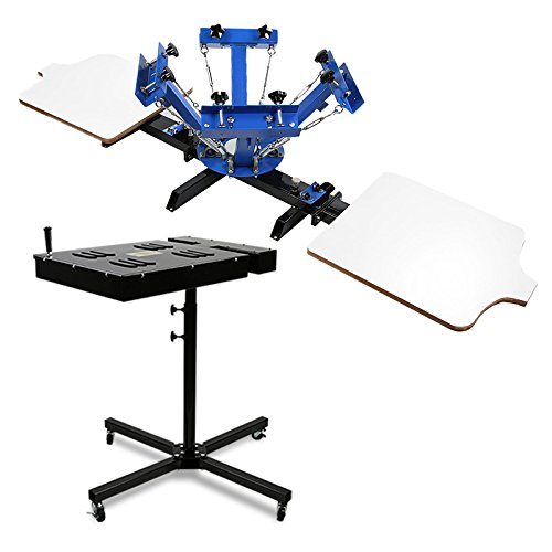 Maxwolf Screen Printing Machine 4 Color 2 Station + Flash Dryer Silk Screen Printing Curing Ink 18x18 Inch 2000W for Plastisol T shirt Silkscreen