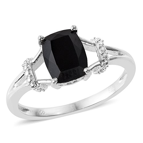 Black Spinel Sterling Silver Ring Size (Silver Spinel Ring)