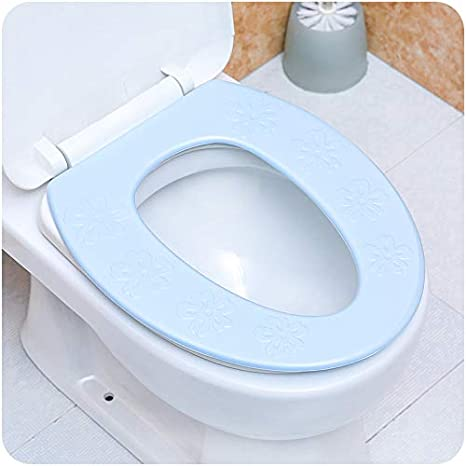 coj/ín grueso para inodoro Asiento de inodoro lavable y resistente al agua para inodoro de invierno 1 pieza 34.5x40cm azul