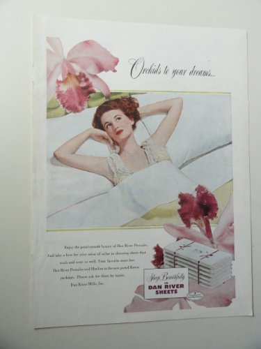 (Dan River Sheets, 1949 Color Illustration, Print Ad.(woman in bed/Orchids to your dreams) Original Vintage 1949 Good Housekeeping Magazine Print art)